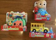 Cocomelon Doll Plush Jj Bedtime Soft 10 Toy With Musical Bus And Dr Set All 3
