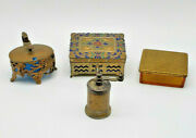 Antique Lot Of Four Trinket Boxes And Pepper Brass Metal Italy And Japan No Issues