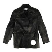Nwt Off White C/o Virgil Abloh Black Leather Cut Out Jacket Size 2/38 3145