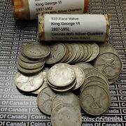 Roll Of 40 King George Vi Canada Silver Quarters - 10 Face Value Coinsofcanada