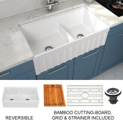 Yorkshire Farmhouse Fireclay Double Bowl Kitchen Sink With Cutting Board