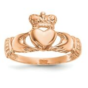 14k Rose Gold Irish Claddagh Celtic Knot Band Ring Fine Jewelry Women Gifts Her