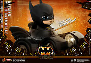 New Hot Toys Dc Cosbaby 1989 Batman With Batmobile Collectible Set Figure Keaton