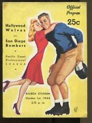 1944 Pcfl Program 10/1 Hollywood Wolves V San Diego Bombers Champs Ex+ 68788
