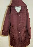 Avenue Women Quilted Spring Jacket Berry Plus Size Hooded 30/32 56/ 58 New Nwt