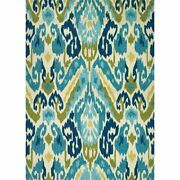Covington 8and039w X 11and039l Hand-hooked Delfina Area Rug In Azure/lemon
