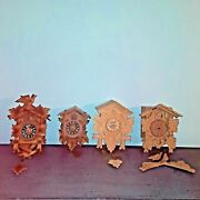 Vintage Cuckoo Clocks For Parts Germany Poppo Lot Of 4 As Is