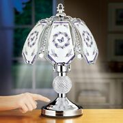 Elegant Lavender Butterfly Wreath Silver Touch Base Glass Panel Table Lamp