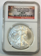 2014s Silver Eagle Ngc Ms69 Early Releases Struck At Sf Mint - Enn Coins Pb