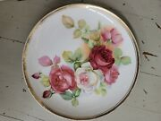 Antique Victorian Porcelain Cabinet Plate With Pink And Red Cabbage Roses