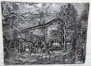 Old Mural Relief Plaster Silver Varnished Forge Helmut Bald 18 7/8x13 13/16in