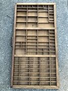 """Vtg Wooden 32 X 16.5""""drawer Letterpress Printer's Case Tray 91 Slots And Handle"""