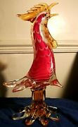 Vintage Murano Glass Art Bird,rooster Xl 31 Cm Tall,sommerso