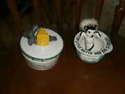 Vintage Mouse Cheese Crock And Skunk Comic Ashtray
