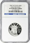 2007-w Early Releases 50 1/2oz Platinum Eagle Ngc Pf70 Proof
