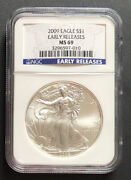 2009 Silver Eagle Ngc Ms69 Early Releases Spots On Coin - Enn Coins 010pb