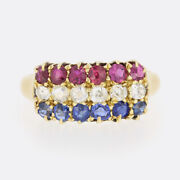 Victorian Ruby Ring - Sapphire Diamond And Ruby Three Row Ring 18ct Yellow Gold