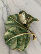 Jay Strongwater Bird On Leaf Trinket Tray With Crystals