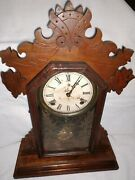 Antique Ingraham Parlor Kitchen Mantle Clock With Chime Clock 1884 Works