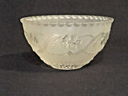 Vintage Frosted Glass Bowl Shade Ceiling Fixture Floral Pattern Neckless 1 5/8