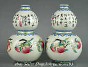 4.8 Yongzheng Marked Chinese Famille Rose Porcelain Peach Lichee Bottle Pair