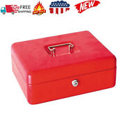 Stainless Steel Small Petty Cash Box Lock Bank Safe Key Security Tray Red Us
