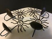 Set Of 4 Wrought Iron Sconce Wall Hanging Candle Holders Hopi Design