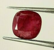 3.34 Ct Gii Certified No Heat Natural Ruby From Myanmar Burma Loose Cushion A+