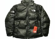 Supreme The Leather Nuptse Jacket In Black Size M