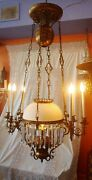Large Victorian French Electrified Hanging Oil Lamp W/ Gargoyles, 7 Lights