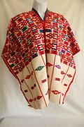 Vintage Mexican Wool Embroiderd Poncho Cape Serape Red 35x26