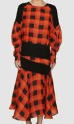 1795 Preen By Thornton Bregazzi Womens Red Black Plaid Fit And Flare Silk Dress S