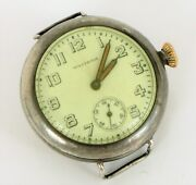 Antique Waltham Wwi Era Military Trench Watch Illinois Sterling Silver Case