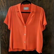 Discontinued Everlane Silk Notch Collar Short Sleeved Shirt Bright Red 4 Small