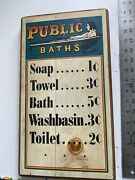 Vtg 1970 Stars And Stripes Hand Crafted Public Baths Sign Plaque 16l X 9w