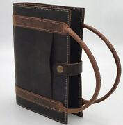 Brown Genuine Leather Bible Book Cover Amish Made Buffalo Sleeve Wickett And Craig