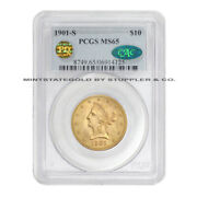 1901-s 10 Gold Liberty Pcgs Ms65 Cac Certified Pq Approved San Francisco Eagle