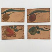 Vintage Leather 4 Postcard Lot Patch Novelty Hand Tool Painted Western Flowers