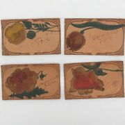 Vintage Leather 4 Postcard Lot Patch Novelty Hand Paint Tooled Western Flowers