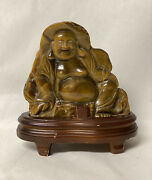 Vintage Carved Tiger's Eye Seated Laughing Buddha Sculpture On Wood Base