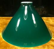Vintage Emeralite Green And White Tapered Conical Glass Table Desk Lamp Shade