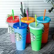 50 Starbucks Color Changing Cold Cup 24oz With Straws - Bulk Lot Free Shipping