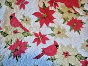 Holiday Bedspread Red Cardinal And Festive Poinsettia Comforter Set Queen Size