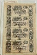 Wow__4 Genuine Obsolete 1800and039s Uncut Sheet 10 Canal Bank New Orleans Notes