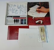 Vintage Sheaffer Calligraphy Set Fountain Pens Speedball Markers And Paper Lot