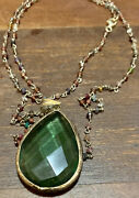 Green Gem Necklace Vintage Long Chain Jewery Costume