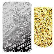 1 Troy Oz .999 Silver Westminster Lion Bar + 10 Piece Alaskan Pure Gold Nuggets