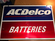 Vintage 1970s Chevrolet Ac Delco Batteries Embossed Metal Sign. 24x36. Rare