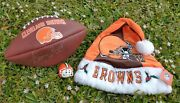 Lot Of 3 Cleveland Browns Collectibles Antenna Ball, Santa Hat, Signed Football