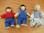 Vintage Melissa And Doug Set Of 3 Wooden Doll House People Family Dw1360